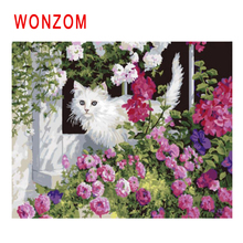 WONZOM Flower Garden Painting By Numbers Abstract Animal Oil Cat Cuadros Decoracion Acrylic Paint On Canvas Modern Art