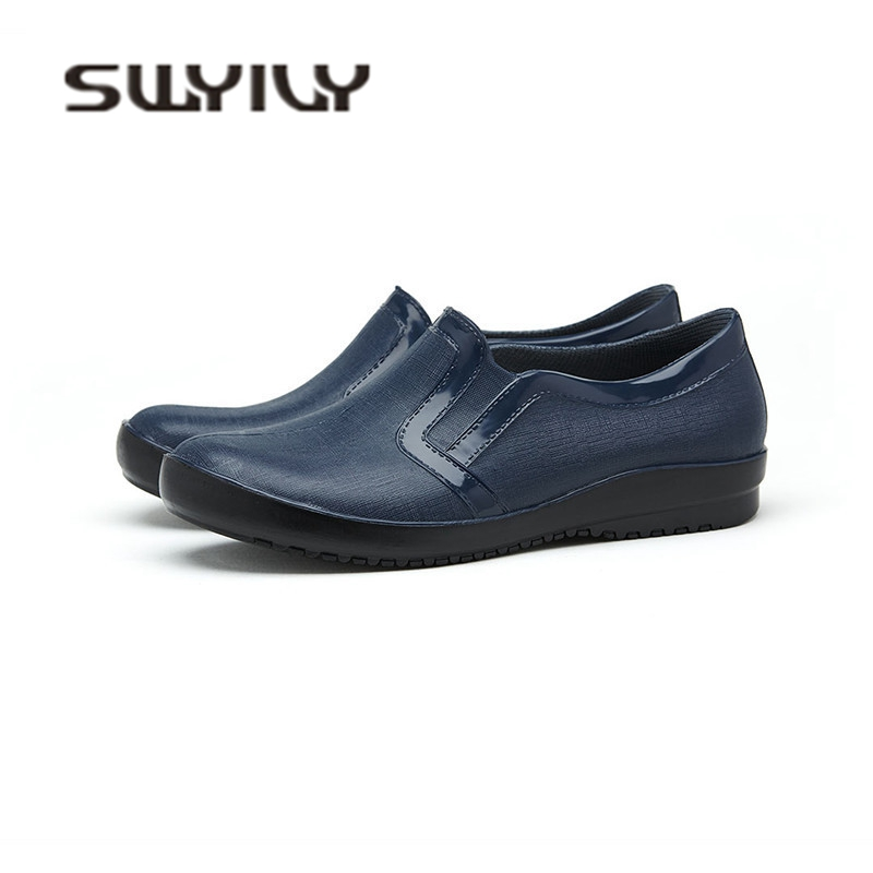SWYIVY Men Casual Shoes Waterproof 2018 Autumn Comfortable Rubber Rain Boots Solid Mens Wellies Flat Slip On Water Shoes 44