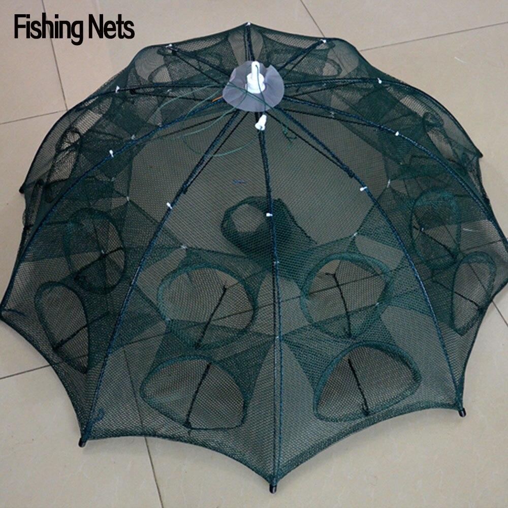Nueva automático Redes de pesca camarón jaula nylon plegable cangrejo pescado trampa cast Net cast plegable Redes de pesca trabajo envío gratis