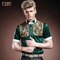 Бесплатная Доставка Новая мода повседневная мужская тонкий короткими рукавами Европа Суд молодежная летняя рубашка 14316 тонкий шелк на заказ