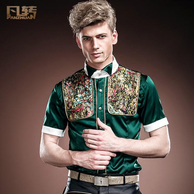 Envío Gratis Nueva moda casual Europa Tribunal de jóvenes de los hombres delgados de manga corta camisa de verano 14316 de seda delgado por encargo