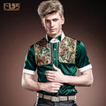 Free Shipping New fashion casual male men's slim short sleeved  Europe Court of youth summer shirt 14316 slim silk custom-made