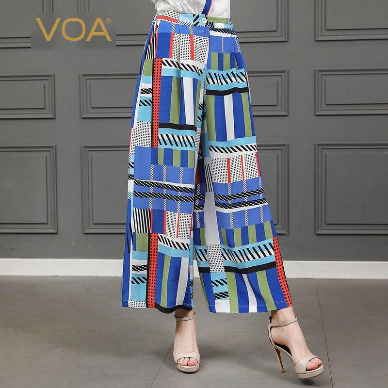 VOA Plaid Palazzo Wide Leg Pants Women Luxury Silk Trousers Casual Broeken Loose Mid Waist Harajuku Pantalon School Pants K805