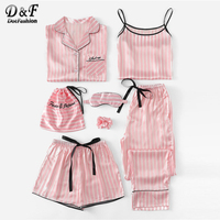 Dotfashion Pink 7Pcs Letter Embroidered Striped PJ Set With Shirt Pajamas For Women 2019 Summer Casual Long Sleeve Loungewear