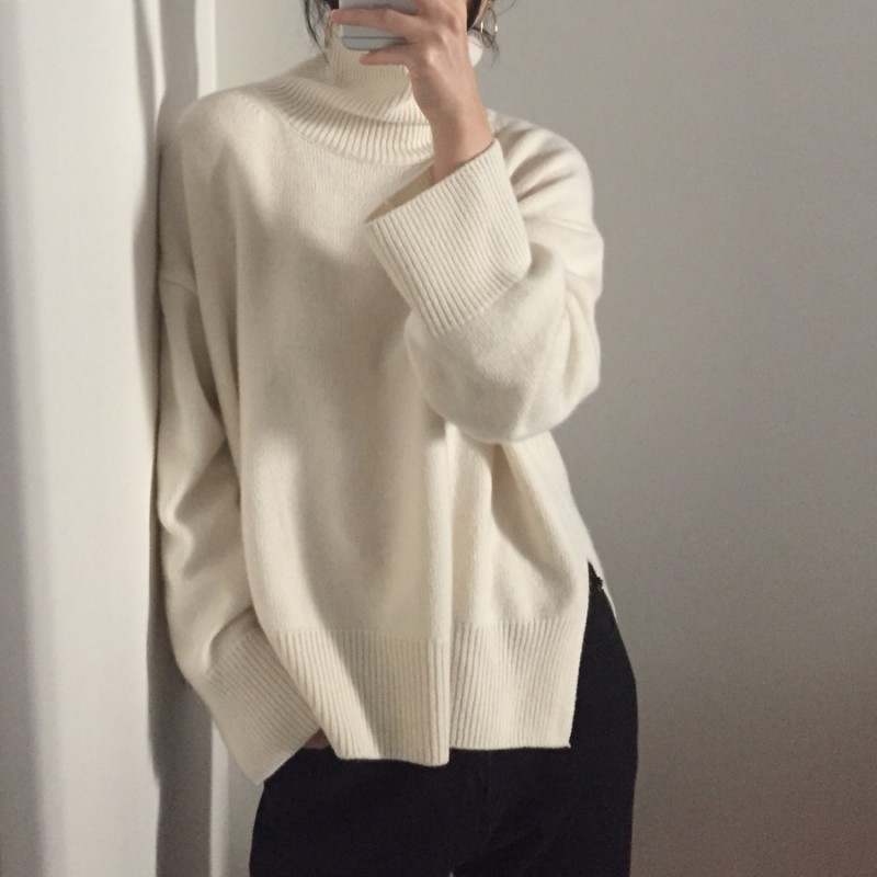 2019 NEW Winter New Fashion Cashmere Wool Women Warm Solid Sweaters Casual Full Sleeve Turtleneck Loose Pullovers Computer Knitt ...