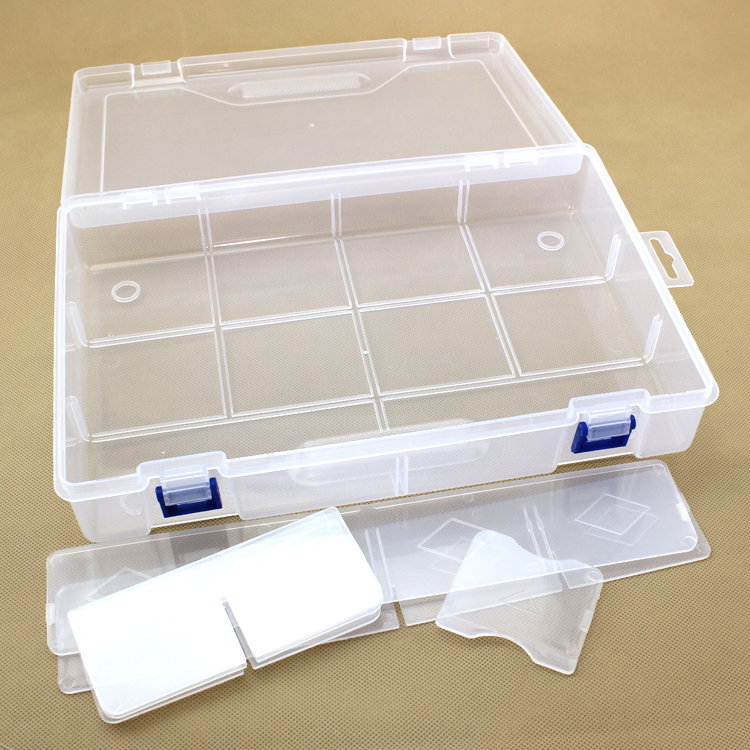 New10 dividers transparent plastic box storage jewelry box stackable