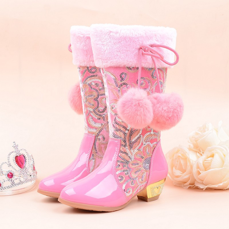 2018 Girls Princess High Heeled Snow Boots with True Rabbit Hairball Plush Knee High Glitter Sequins