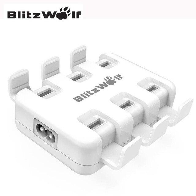 BlitzWolf Mini Portable 6 ports AU UK EU US Holder 50W Smart Desktop Universal Micro USB Charger USB Adapter With Power3S Tech