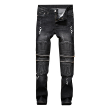 Brand Mens Skinny Ripped Jeans Vintage Runway Distressed Slim Elastic Denim Biker Nightclub Black Harem Pants