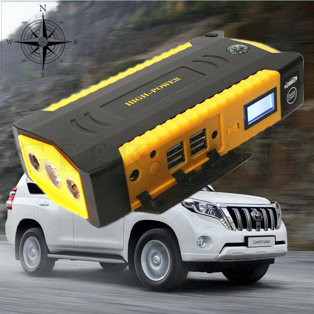 Portable Emergency 12V Car16000mAh Jump Starter 600A Peak Car Battery Charger Hot 4USB Power Bank SOS Lights Compass Free Ship