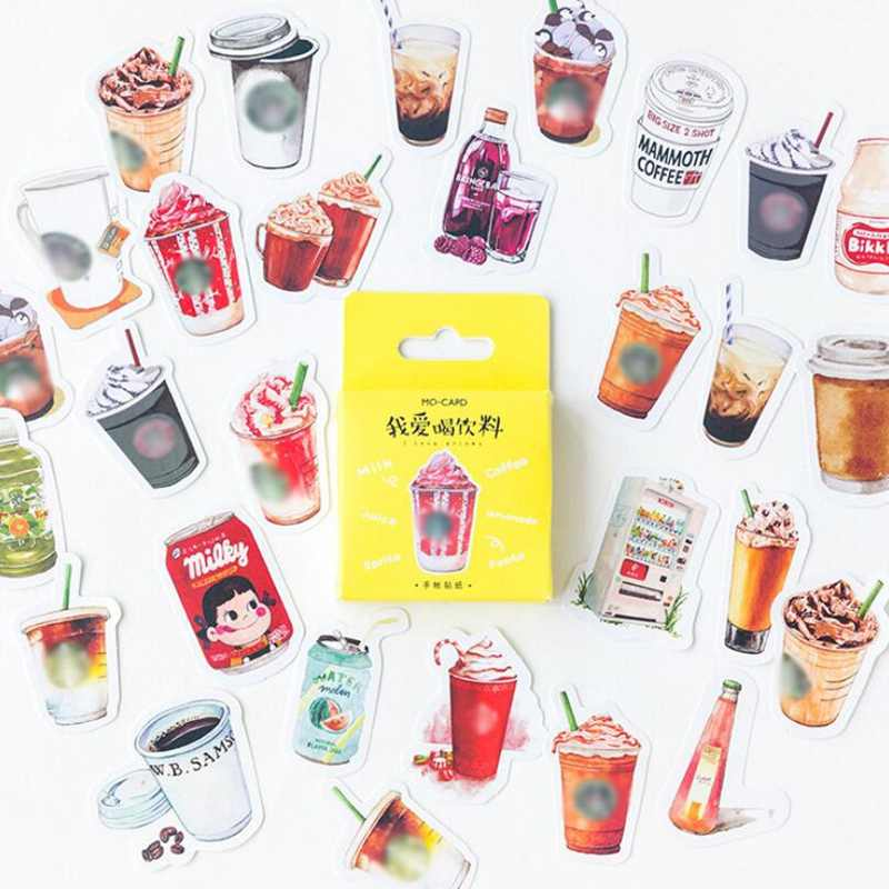 46Pcs/Box Coffee Drink Decoracion Journal Cute Diary Travalling Stickers Scrapbooking Flakes Stationery School Supplies
