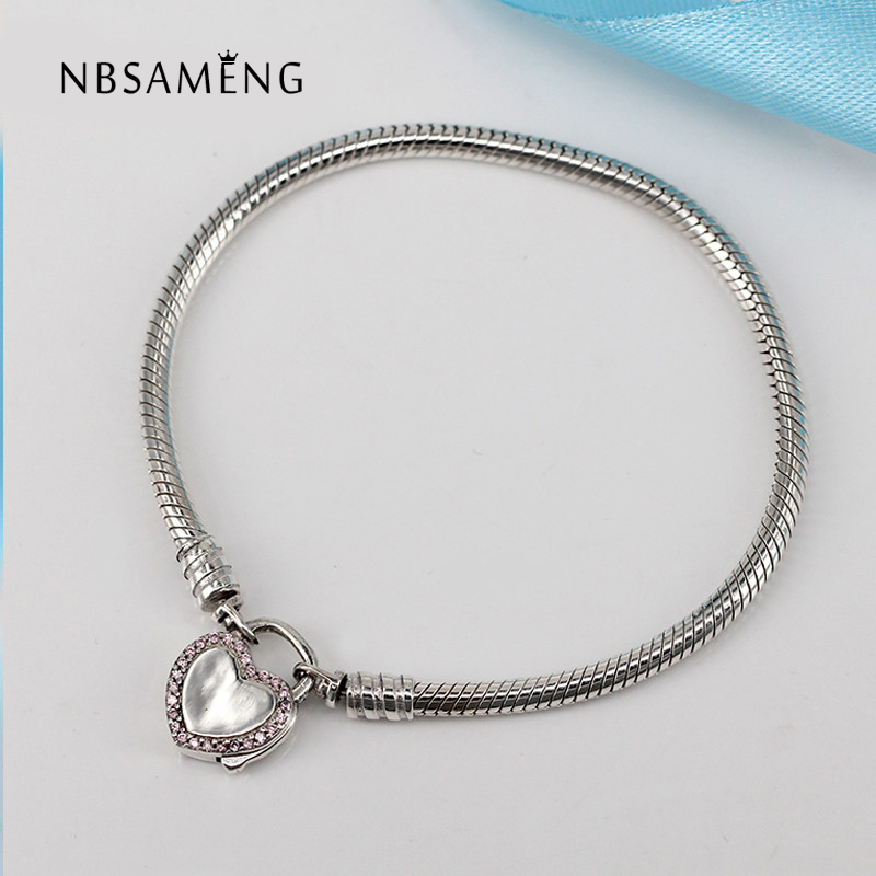 Authentic 925 Sterling Silver Promise Lock Pink & Clear CZ Basic Bracelets Fit Women Pan Bangle Bead Charm DIY Jewelry 925 sterling silver sea turtle charm beads fit bracelets original animal turtle clear cz bead diy jewelry pas147