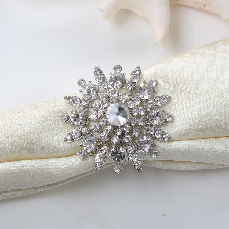 Free Shipping 12pcs/lot  Rhinestone Napkin Ring Serviette Holder Napkin Buckle For Wedding Party Decoration