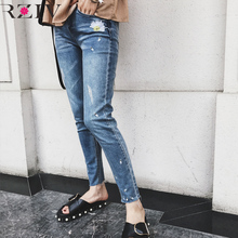 RZIV 2017 skinny jeans woman casual solid color jeans flowers embroidered jeans trousers stretch denim jeans