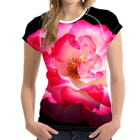 FORUDESIGNS Summer Flower T Shirt 3D Floral Pink Tee Shirts For Women Girls T Shirts Female
