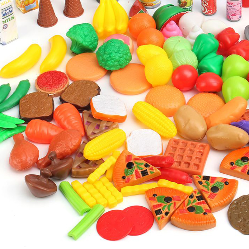 120pcs/set Plastic Kitchen Toys Educational For Kids Pretend Food Cutting Toys Kitchen Simulation Cutting Fruits Vegetables Food