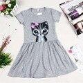 Платье девочка принцесса кошка распечатать solid хлопок девочка одежда с коротким рукавом платье малыша для новорожденных девочек милые платья