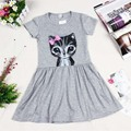 HOT! Summer Baby girl dress princess cat print solid cotton baby girl clothes short sleeve dress kid for baby girls cute dresses
