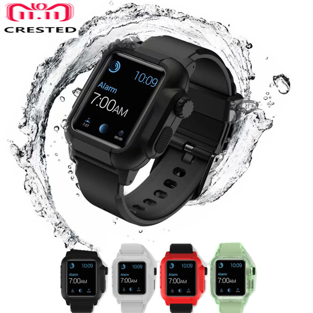 Correa deportiva luminosa CRESTED para Apple Watch band 42mm funda impermeable Iwatch Series 3 2 muñequeras pulsera funda protectora