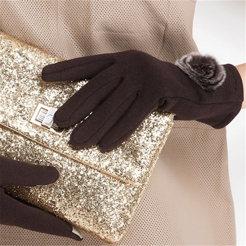 1 Pair 4 Colors Brand 2017 Warm Elegant Rabbit Fur Woolen Gloves For Winter Gloves Mitten Women Gloves Female Gloves