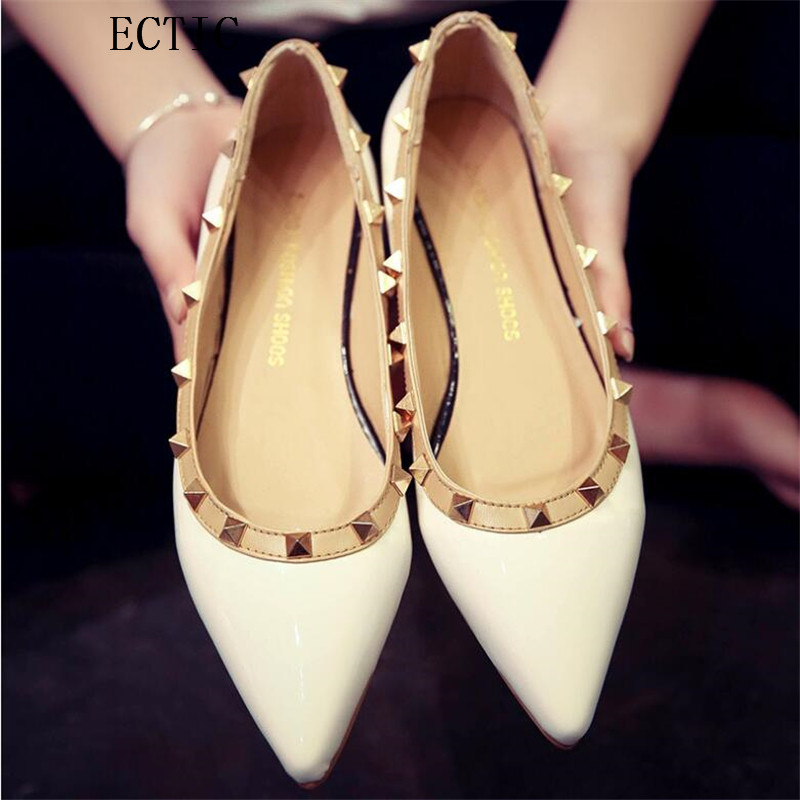 Spring Women Flats Shoes New 2017 Shoes Woman Rivets  Pointed Toe Casual Ballet Ballerina Ballet Flat Sandals 2017 spring summer new women casual pointed toe loafers flats ballet ballerina flat shoes plus size 34 43