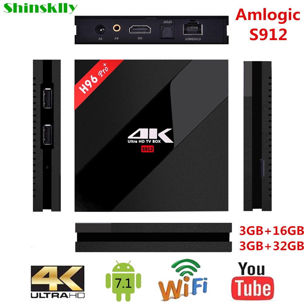 Shinsklly H96 PRO+ Smart TV box Android 7.1 Amlogic S912 Octa core RAM 3GB+32GB Android tv box WIFI 4K Media Player SET TOP BOX shinsklly x92 android tv box amlogic s912 octa core ram 2g rom 16g 32g smart tv box android 6 0 wifi 4k 3d player set top box