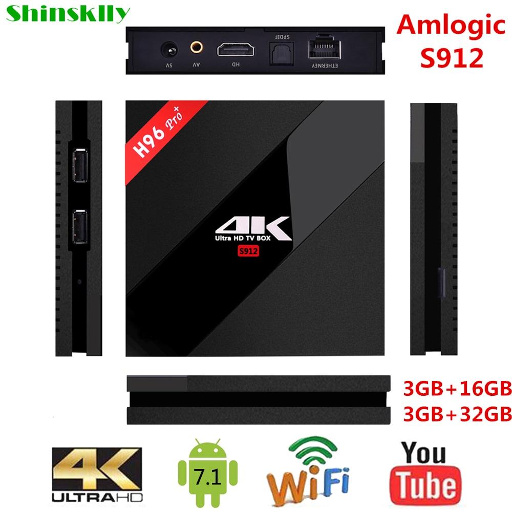 Shinsklly H96 PRO + Smart TV box Android 7.1 Amlogic S912 Octa core RAM 3 GB + 32 GB Android tv box WIFI 4 K Médias Lecteur SET TOP BOX