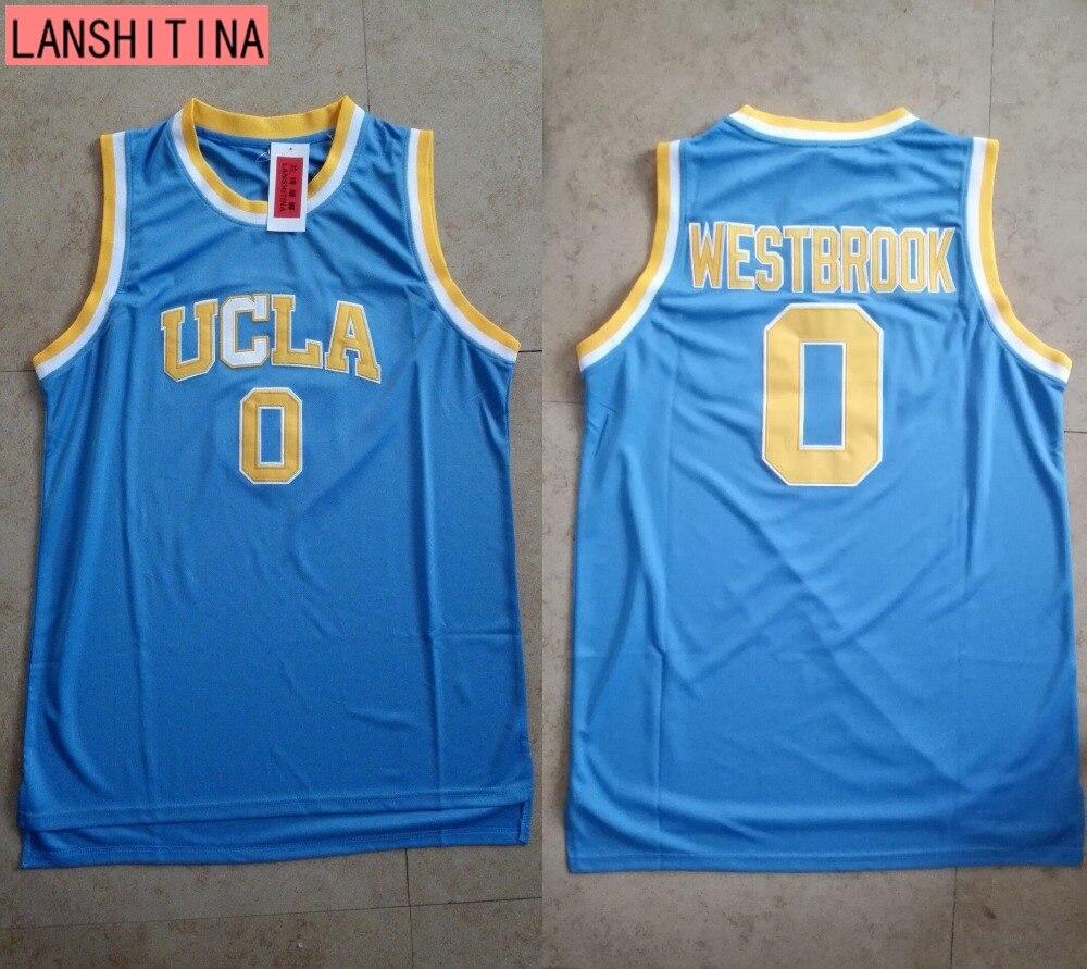 Prix pour LANSHITINA Russell Westbrook Jersey #0 Ucla Régression de Basket-Ball Jersey Rétro Uniformes Piqué Panier Chemises Chemise