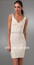 V-Ausschnitt Bandage Kleid Bodycon Kleid Cocktail Party Kleid Weiß HL093 # XS S M L