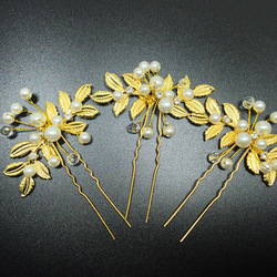 2019 New Fashion Style Women Bride maid Wedding Party Olive Leaf Pearl bead Bridal Golden Hairpin Beautiful Clip Accessories