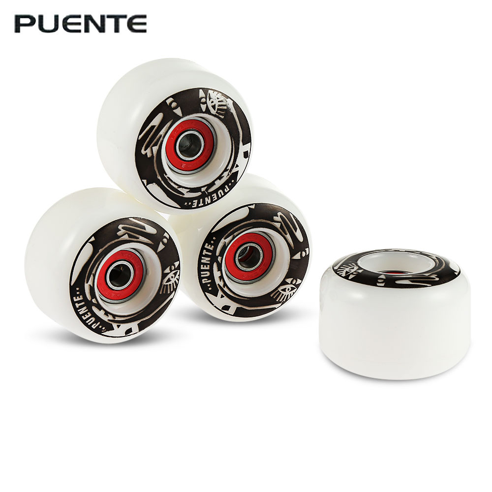 PUENTE 4pcs Skateboard Wheels Hardness Highly Scratch Resistant PU Cruiser Longboard Wheels for Ollie Punk and Jumping