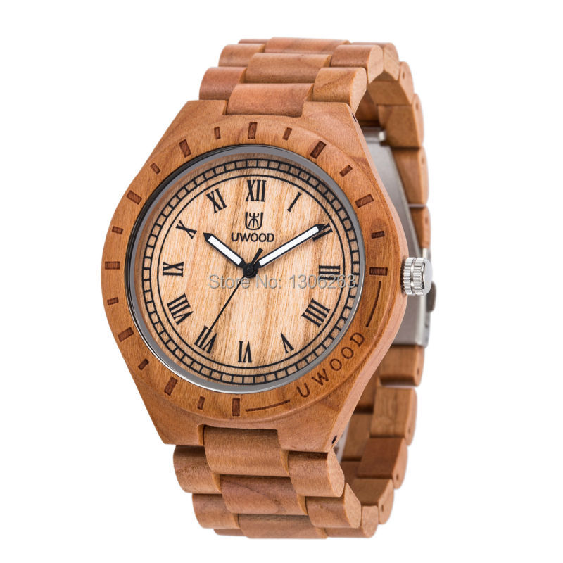 Prix pour Bois montre uwood quartz casual montres pour homme célèbre marque bois montre noël cadeau bois montre