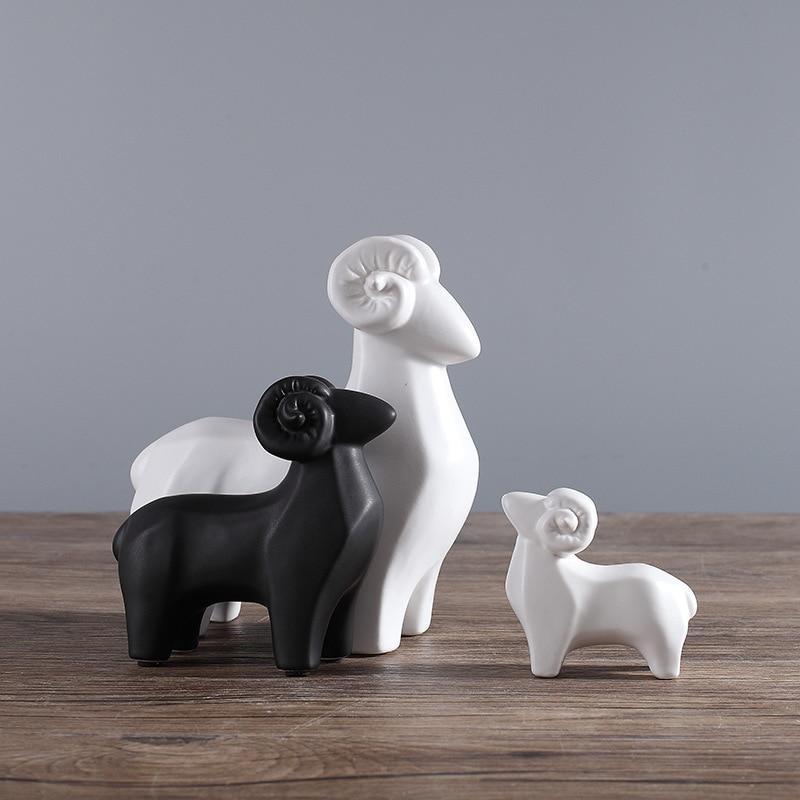 Рождественский подарок 1 набор керамических ремесел три Рэмс приносить Bliss животное Модель рабочего стола Украшение домашний Декор подарок на день рождения орнаменты