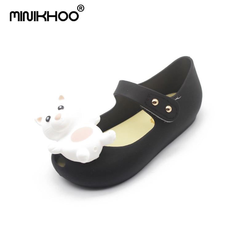 Mini Melissa Original Brands 3D Bear Girl Jelly Sandals 2018 Summer Baby Shoes Melissa Sandals Non-slip Girl Princess Shoes