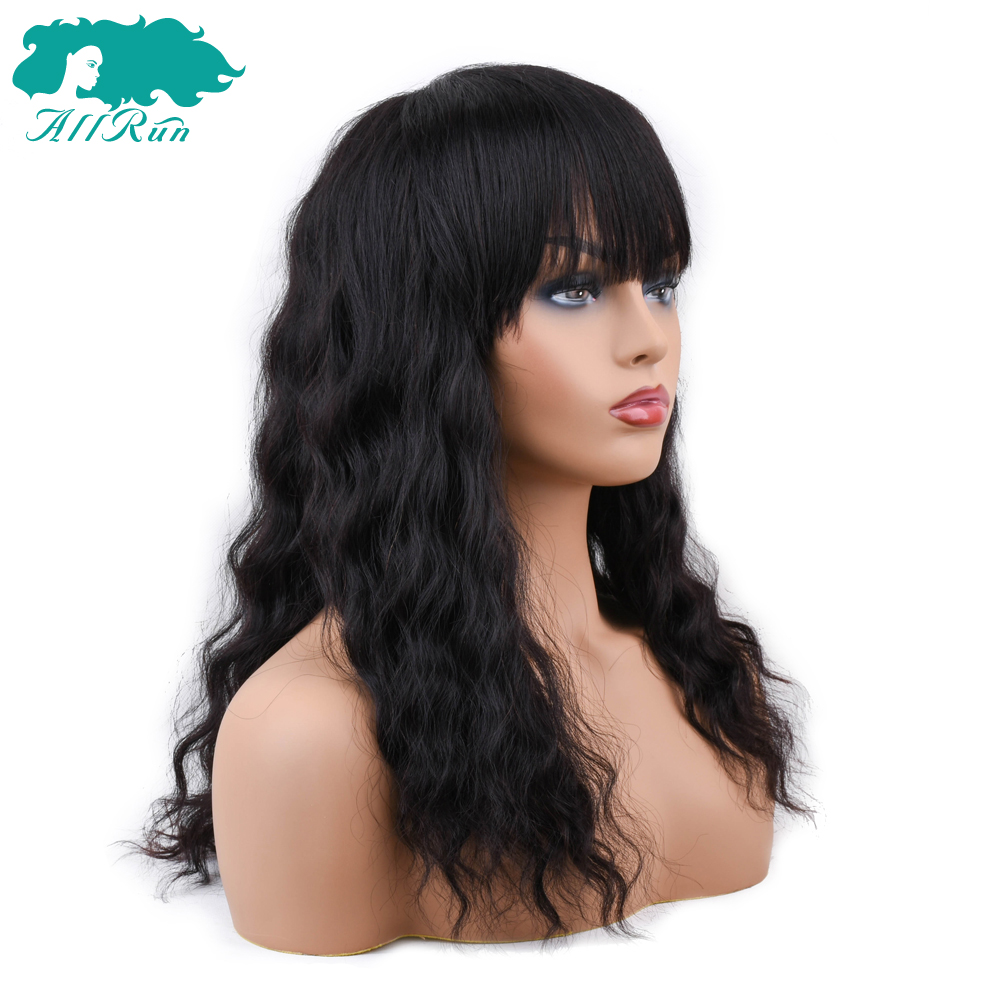 Hair Extensions & Wigs Allrun Mongolian Non Remy Ocean Wave Human Hair Wigs With Adjustable Bangs Human Hair Wigs Full Machine Natural Color Fine Craftsmanship Lace Wigs