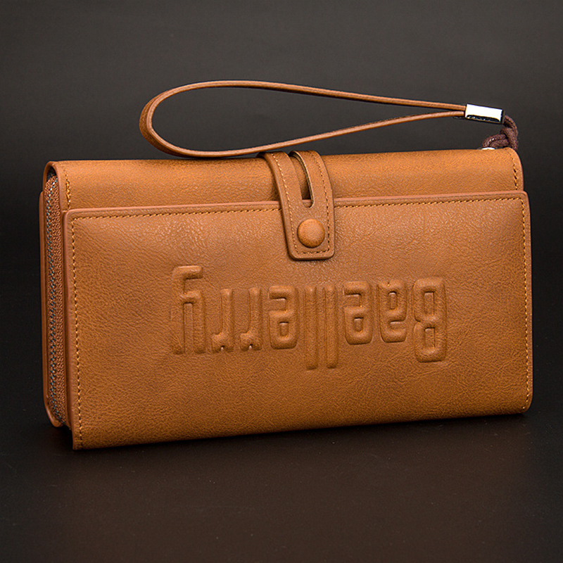 Leather Wallet Long Style Men Multifunctional Purse Closure Huge Capacity Fashion Cash Handbag Money Bag For