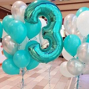 Image 1 - Globos de aluminio con número de 40 pulgadas para boda, fiesta de cumpleaños, dígitos, Globos inflables de helio, suministros de baño para bebé