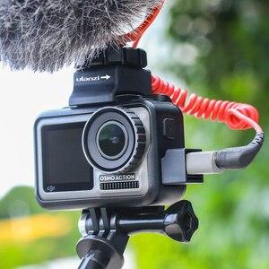 Image 5 - Ulanzi microfone frio sapata montagem para osmo ação highten microfone braçadeira qucik placa de liberação para original dji osmo ação gaiola
