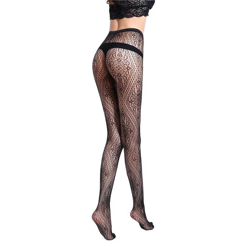 397593b5f3a ... Fashion Women s Tights Sexy Black Fishnet Floral Pattern Stockings  Ladies Hollow Out Mesh Fishnet Pantyhose Club ...