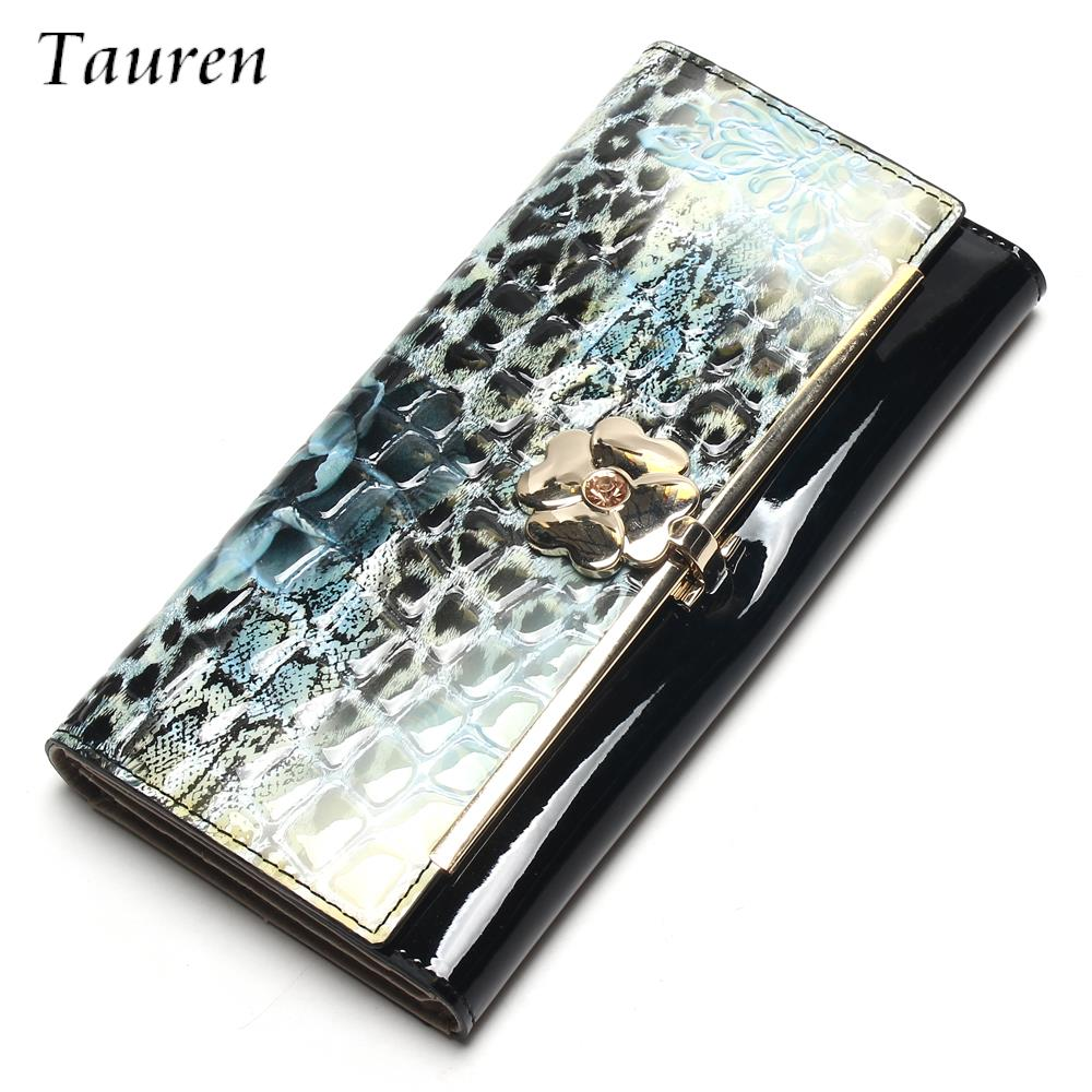 Genuine Leather Women Wallet Patent Leather Vintage Flower Printed  Wallets Ladies' Long Clutches With Coin Purse Card Holder maihui ladies cowhide long genuine leather wallet women with coin pocket card holder wallet national hasp purse note compartment