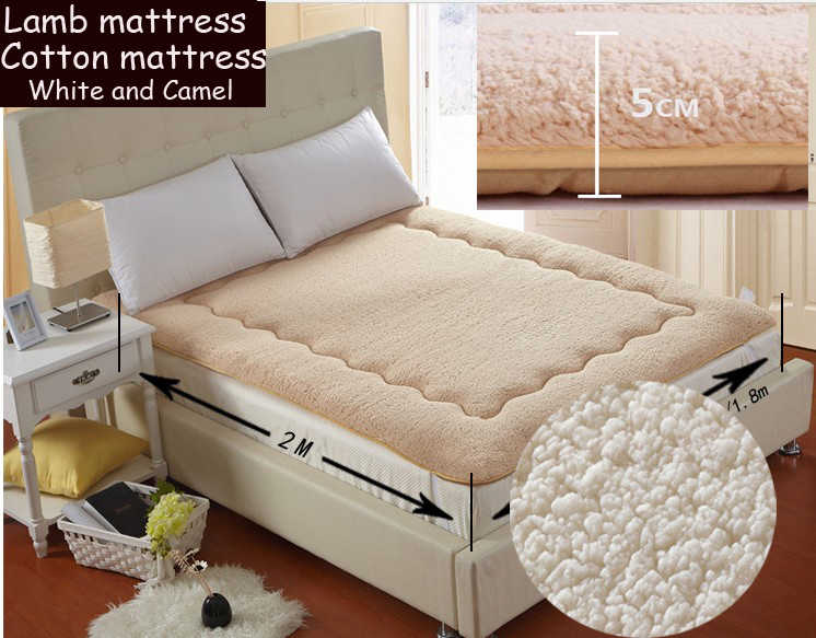 100% Super comfortable warm mattress,soft lamb mattress180*200cm,camel and white,King size mattre suitable for 1.8 meters bed