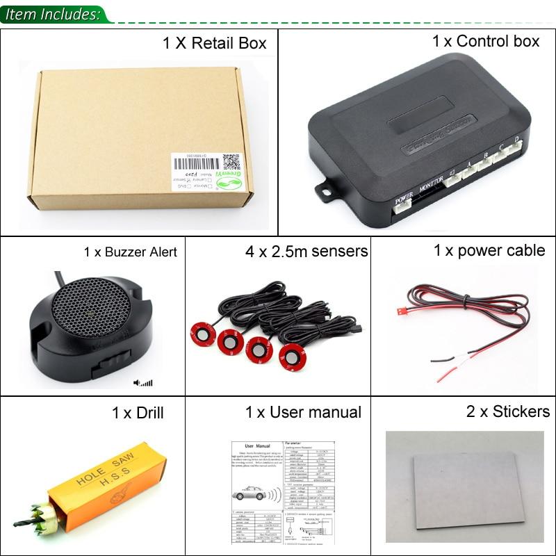 Image 5 - New 13MM Original Flat Adjustable Sensors Car Parking Sensor Parktronic Reverse Backup Radar Detector with Buzzer Alert 6 Colors-in Parking Sensors from Automobiles & Motorcycles