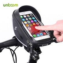 Untoom Waterproof Bicycle Bike Head Tube Handlebar Bag Cycling Bike Front Frame Phone Bag 6.0 inch MTB Road Bicycle Phone Holder