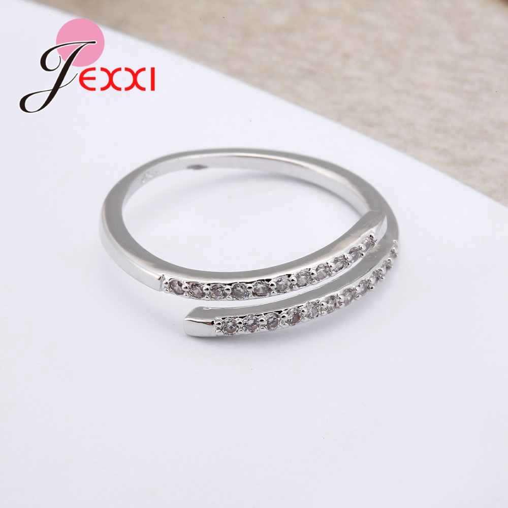Красивый простой дизайн 925 пробы Серебряное Ювелирное Украшение регулируемое кольцо белые сияющие хрустальные стразы кольцо для женщин