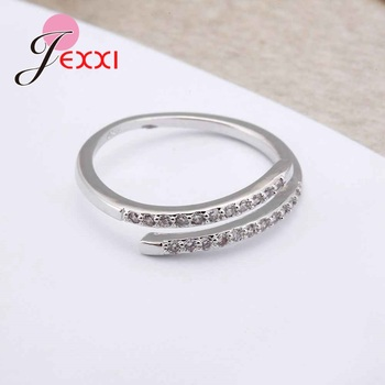 Nice Simple Design 925 Sterling Silver Jewelry Adjustable Ring White Shiny Rhinestone Crystal Ring For Ladies Female 3