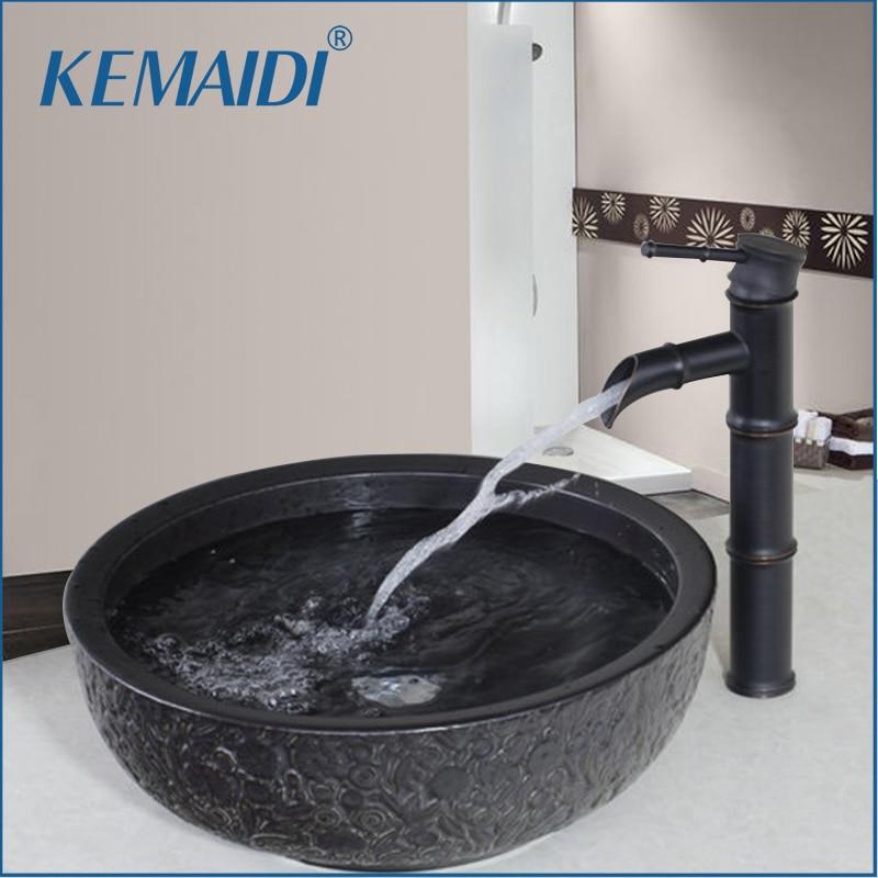 KEMAIDI Bamboo Waterfall Basin Tap Bathroom Sink Washbasin Ceramics  Hand Painted Lavatory Bath Brass Set