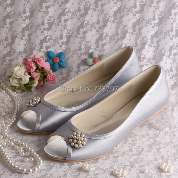 ФОТО Wedopus Silver Satin Ballet Shoes Bridal Woman with Pearls Open Toe Plus Size