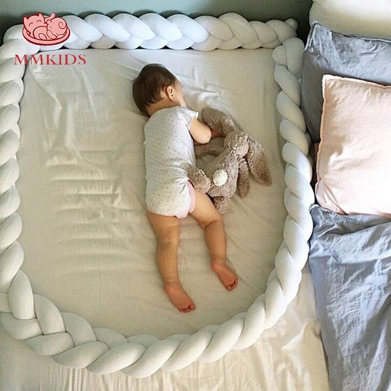 1 M Baby Bett Stoßstange Diy Hand-made Verknotet Baumwolle Braid Kissen Kissen Kinder Zimmer Dekoration Bett Umfang Um Schutz