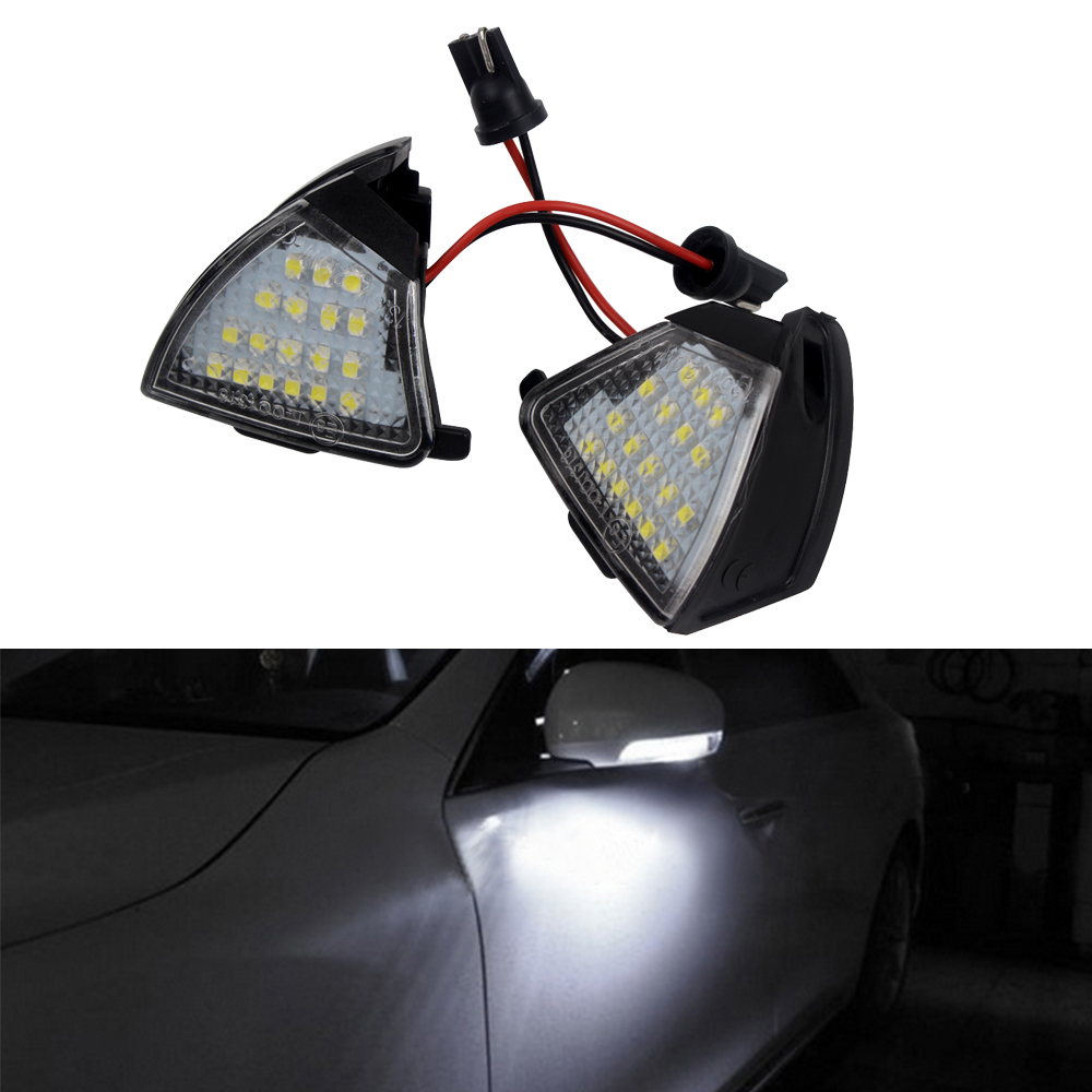 2Pcs LED Under Side Mirror Light Car Rearview Mirror Lamp Puddle Lamp Car-styling For VW Golf 5 Passat Jetta EOS High Quality abs mirror cover chrome matt painted cap side mirror housings for volkswagen jetta golf 5 passat b6 ct