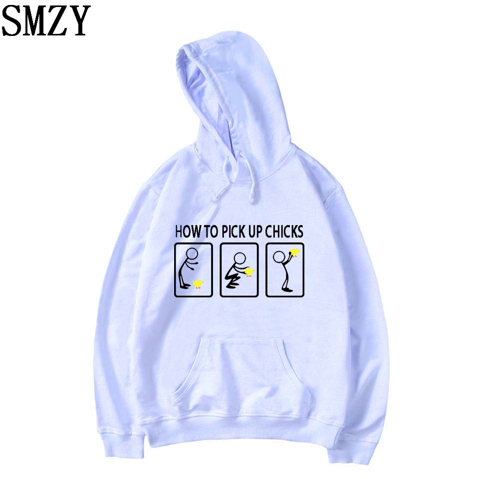 SMZY How To Pick Up Chicks Hoodies Mens Sweatshirts Winter Fashion Funny Logo Print Sweatshirts Men Casual Cotton XS-4XL Clothes